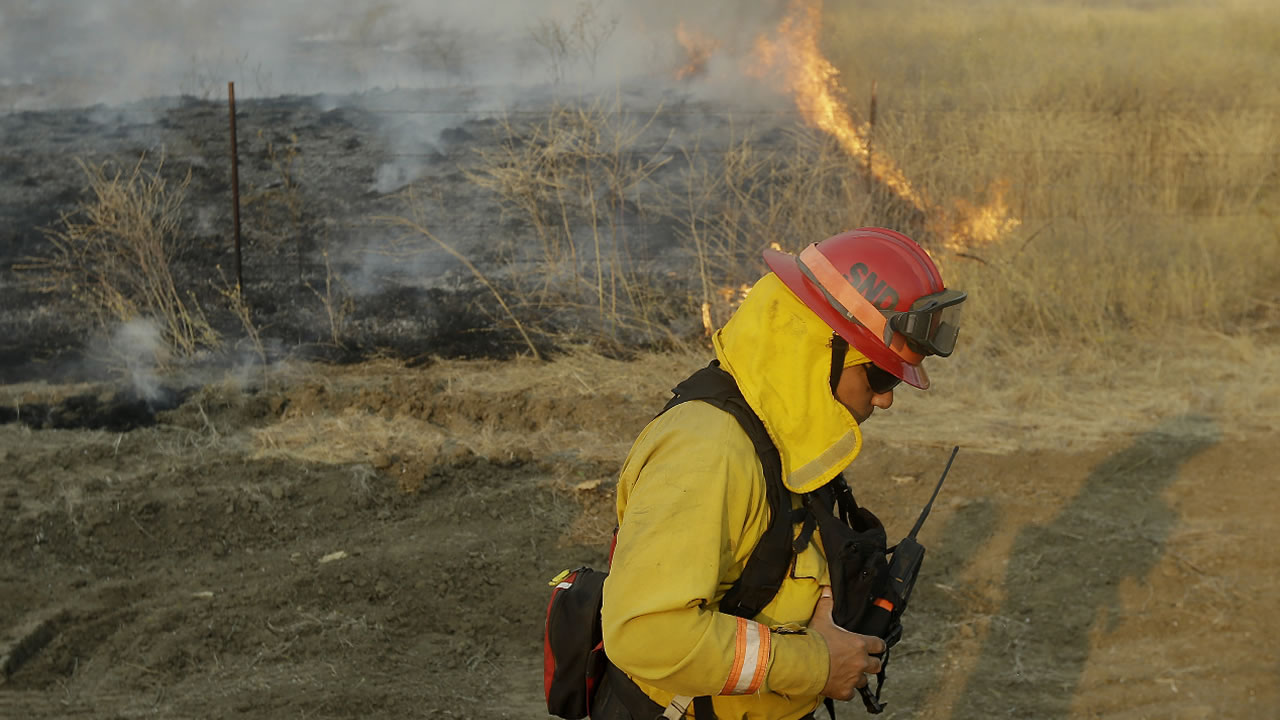 A firefighter monitors a spot fire from the Jerusalem fire near Lower Lake, Calif., Wednesday, Aug. 12, 2015.