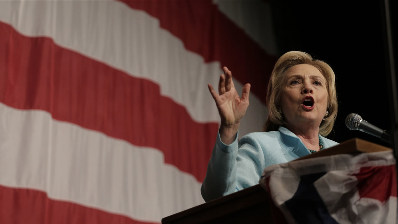 Democratic presidential candidate Hillary Rodham Clinton speaks at the at the Iowa Democratic Wing Ding at the Surf Ballroom Friday, Aug. 14, 2015, in Clear Lake, Iowa.
