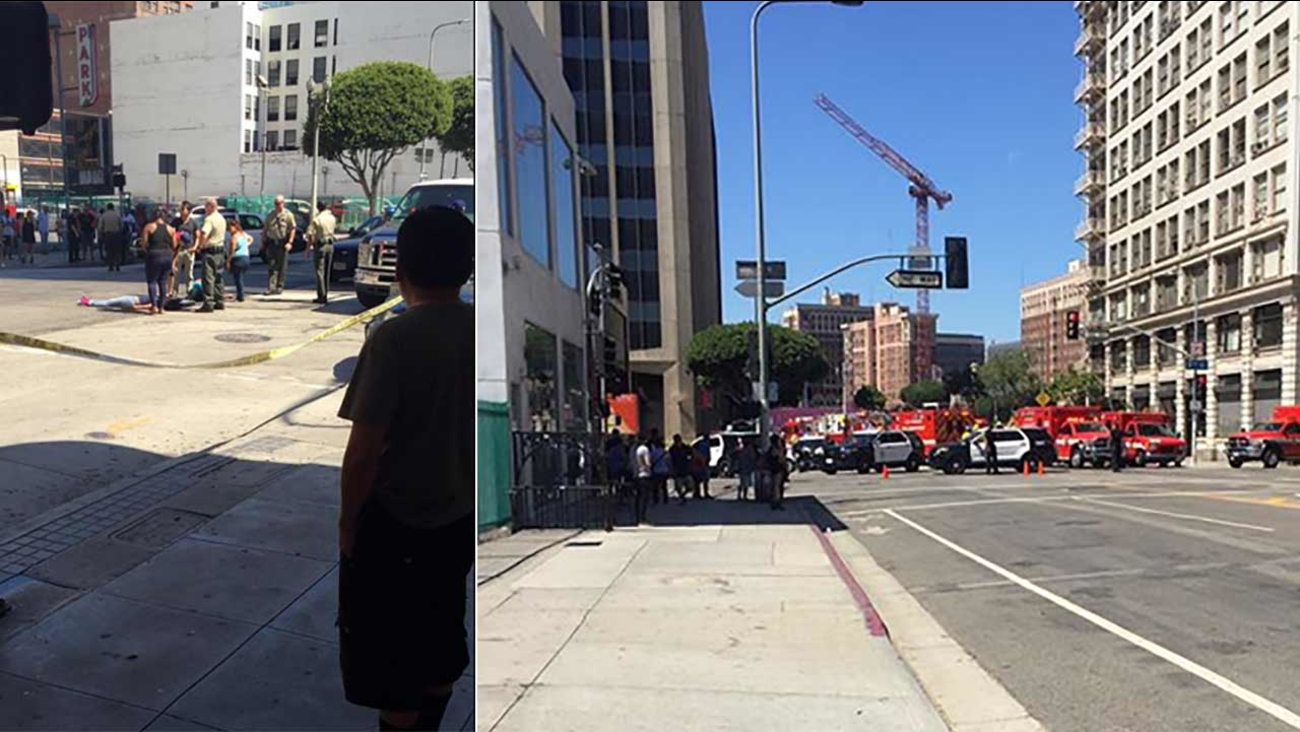 Police respond to a hit-and-run crash in the 800 block of Main Street in downtown Los Angeles on Saturday, Aug. 15, 2015.