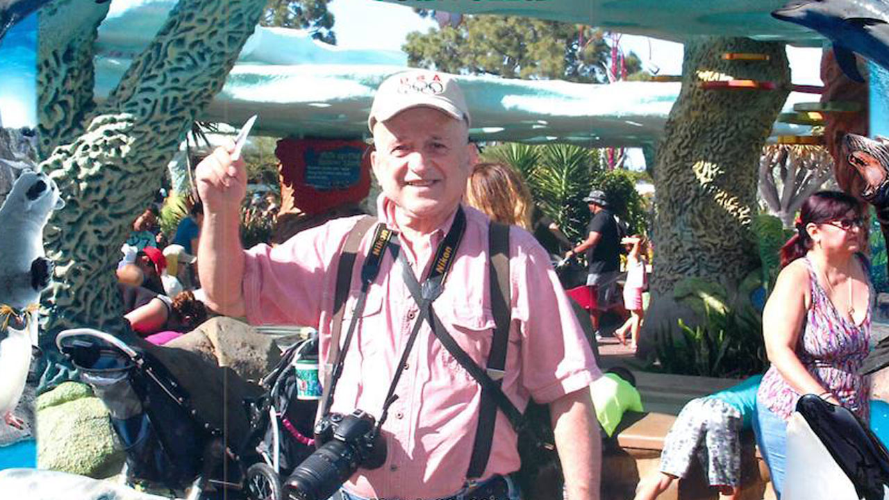Nickolaos Christidis, 76, is shown in a photo from Sea World in San Diego on March, 29, 2015.