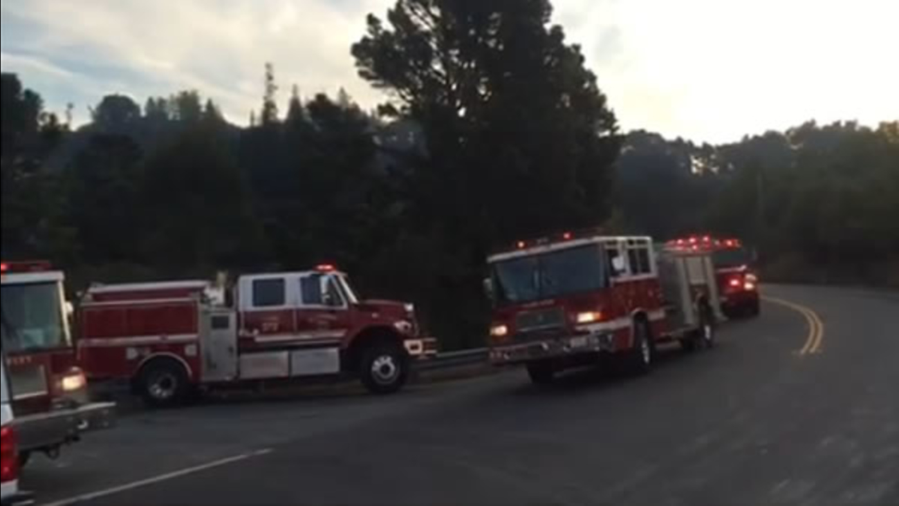 A one-acre vegetation fire broke out in the Berkeley hills on Sunday, August 16, 2015.