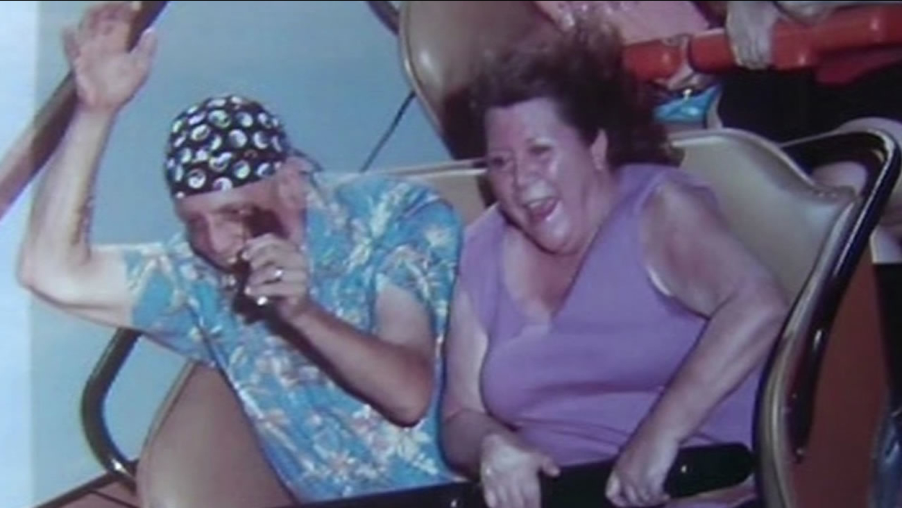 Carol and Michael Valenti road the Roar roller coaster at Six Flags Discovery Kingdom in Vallejo, Calif. August 16, 2015 on its final day.