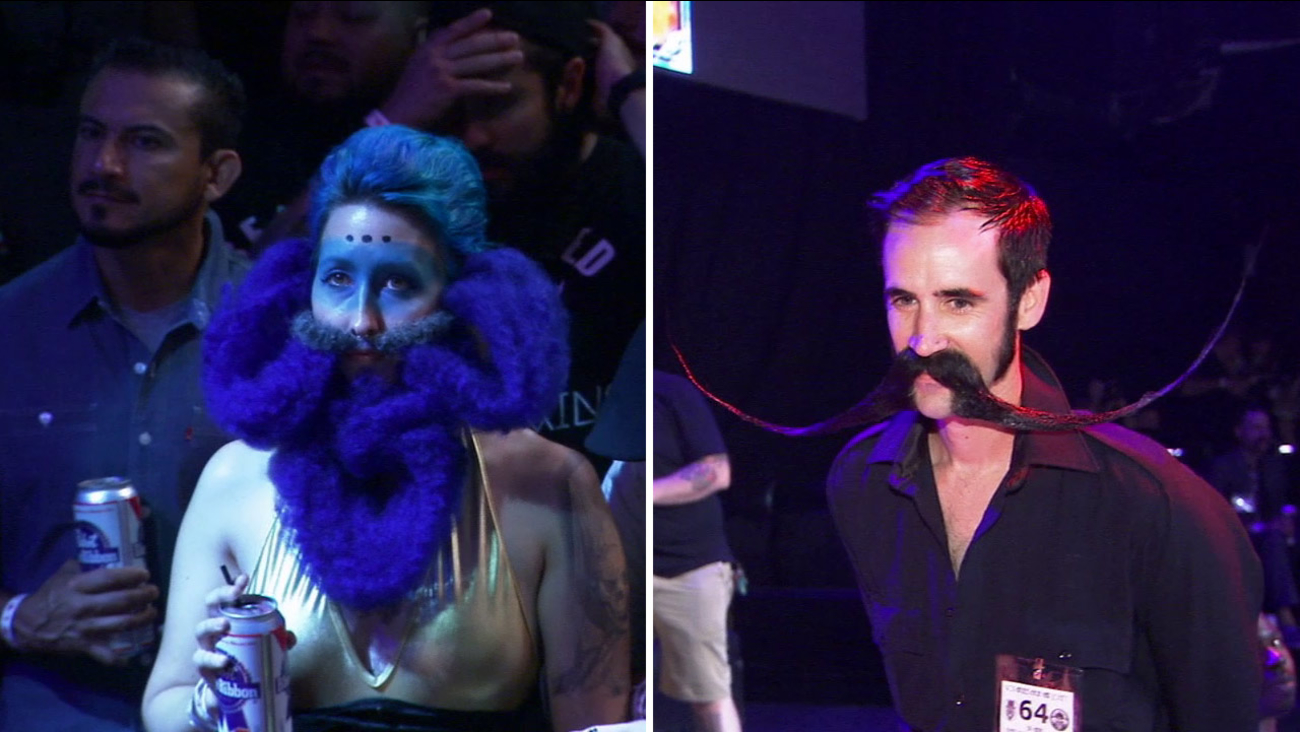 Contestants at the beard and moustache competition show off their stuff in Hollywood on Saturday, Aug. 15, 2015.
