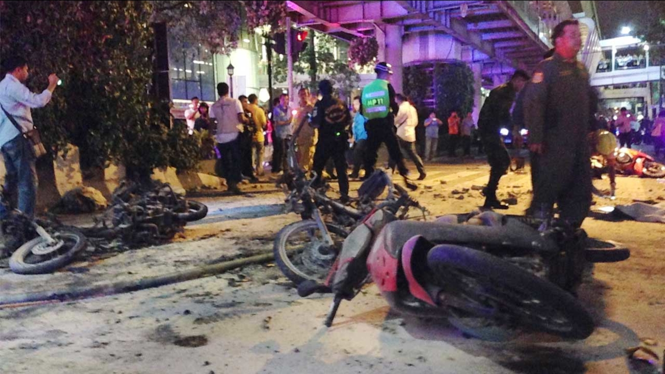 Motorcycles are strewn about after an explosion in Bangkok, Monday, Aug. 17, 2015.