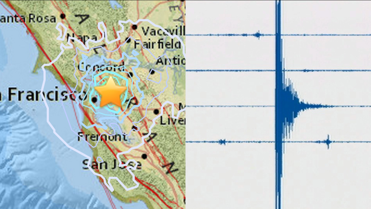 USGS seismograph and earthquake map, Monday, August 17, 2015.
