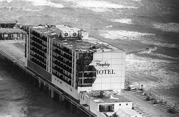 <div class='meta'><div class='origin-logo' data-origin='none'></div><span class='caption-text' data-credit='AP Photo'>This aerial view of the Flagship Hotel shows the damage caused by Hurricane Alicia on Galveston Island, Texas, Aug. 19, 1983.</span></div>