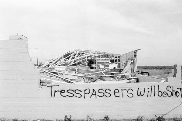 <div class='meta'><div class='origin-logo' data-origin='none'></div><span class='caption-text' data-credit='AP Photo'>Sign, put up by the owner of property destroyed by Hurricane Alicia, Thursday, August 18, 1983 says it all.</span></div>