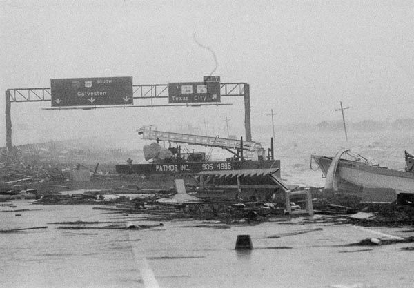 <div class='meta'><div class='origin-logo' data-origin='none'></div><span class='caption-text' data-credit='AP Photo'>Boats, cranes and other debris line the highway leaving from Houston-Galveston Thursday, August 18, 1983 after Hurricane Alicia came ashore with 100 mile an hour winds.</span></div>