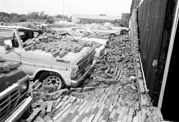 <div class='meta'><div class='origin-logo' data-origin='none'></div><span class='caption-text' data-credit='AP Photo/ Joe Caneva'>Brick wall of a motel came tumbling  down as Hurricane Alicia's winds and tornado knocked on parked cars at Webster, Texas on Thursday, August 18, 1983.</span></div>