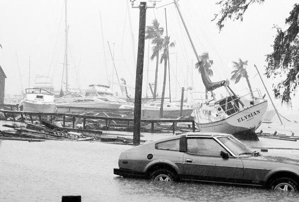 <div class='meta'><div class='origin-logo' data-origin='none'></div><span class='caption-text' data-credit='AP Photo/ IP PG, SM. KEY R3, PO. XJFM'>Sailboat washed ashore with others stacked on another at the Bal Harbor of Nassau Bay, Texas on Thursday, August 18, 1983 as Hurricane Alicia came with 115 mile per hour winds.</span></div>