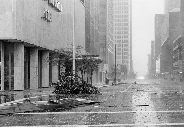 <div class='meta'><div class='origin-logo' data-origin='none'></div><span class='caption-text' data-credit='AP Photo'>Tree, parts of buildings and broken glass litter the streets of downtown Houston Thursday, August 18, 1983 after Hurricane Alicia's high winds raked the area after coming ashore.</span></div>