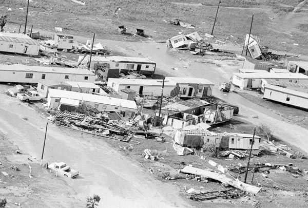 <div class='meta'><div class='origin-logo' data-origin='none'></div><span class='caption-text' data-credit='AP Photo/ Ron Heflin'>Hurricane Alicia flipped and tore up this trailer park on Galveston Island, Texas on Thursday, August 18, 1983 as she moved ashore with its 115 mile an hour winds.</span></div>