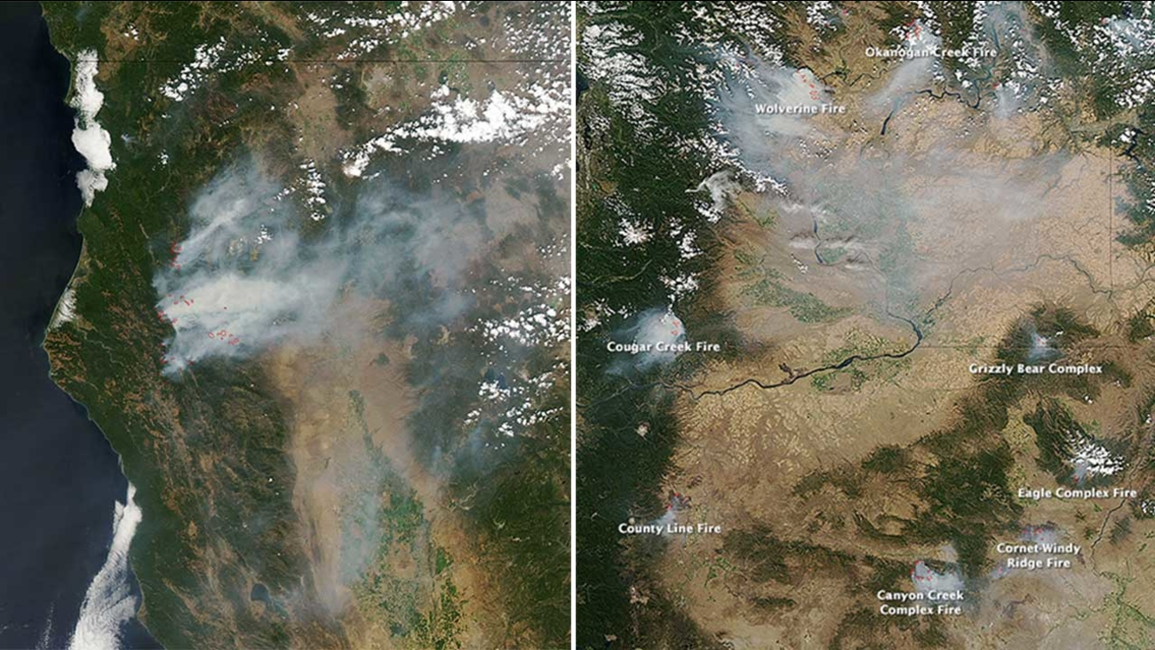 Nasa Images With Thick Plumes Of Smoke Illustrate Spread Of Wildfire