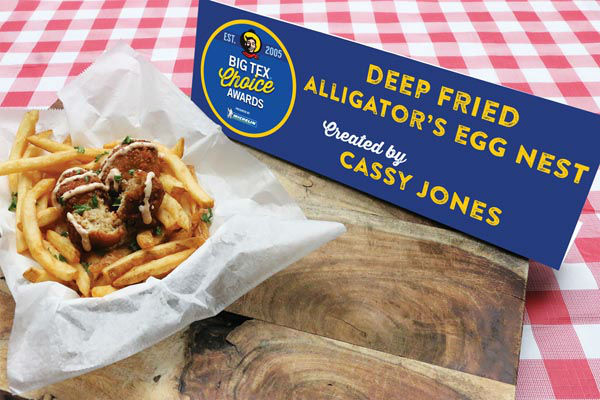 <div class='meta'><div class='origin-logo' data-origin='none'></div><span class='caption-text' data-credit='State Fair of Texas'>Deep Fried Alligator's Egg Nest by Cassy Jones</span></div>