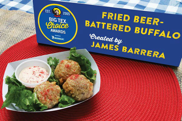 <div class='meta'><div class='origin-logo' data-origin='none'></div><span class='caption-text' data-credit='State Fair of Texas'>Fried Beer-Battered Buffalo by James Barrera</span></div>