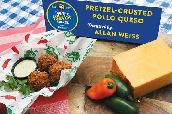 <div class='meta'><div class='origin-logo' data-origin='none'></div><span class='caption-text' data-credit='State Fair of Texas'>Pretzel-Crusted Pollo Queso by Allan Weiss</span></div>