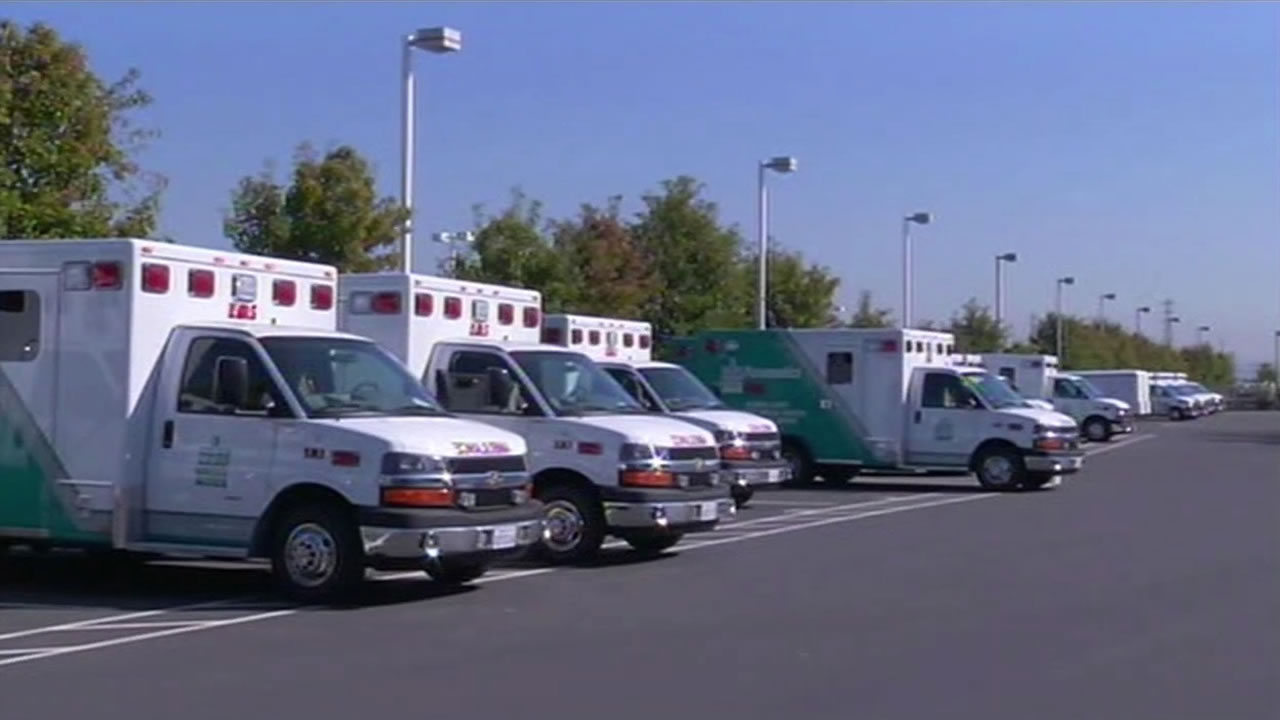 A row of ambulances are parked in this undated file photo.