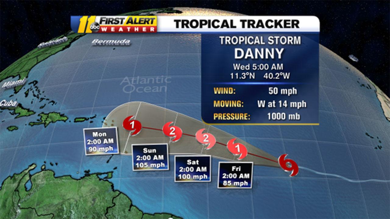 Tropical Storm Danny forecast graphic