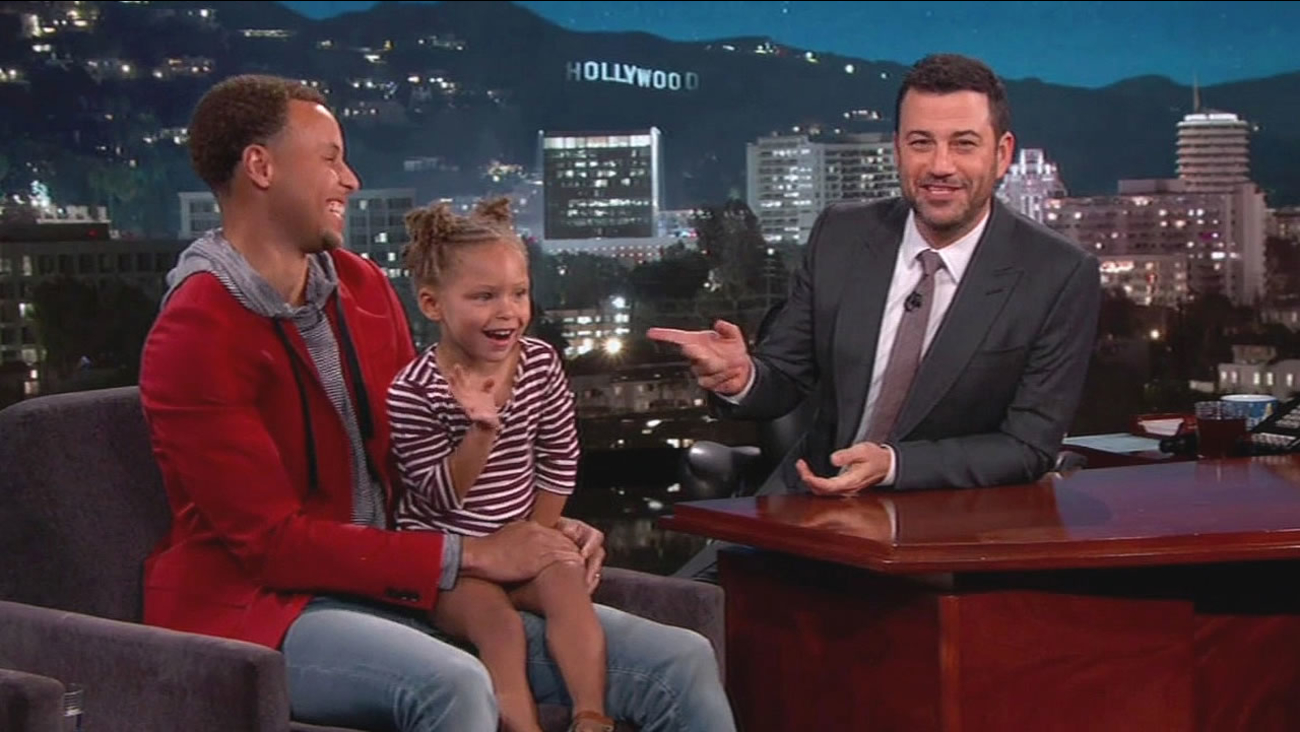 Warriors guard Stephen Curry and his daughter Riley appeared on Kimmel