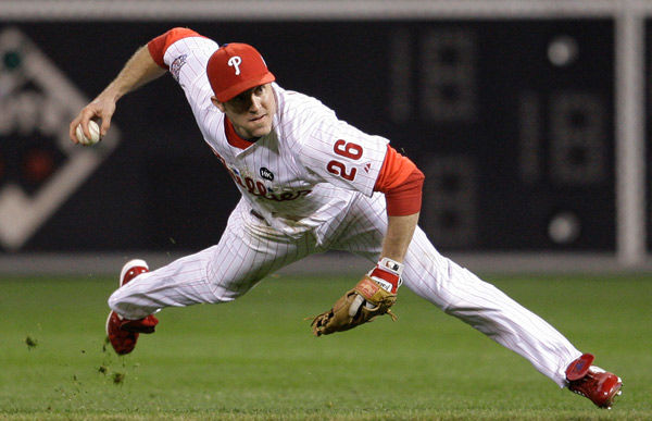 """<div class=""""meta image-caption""""><div class=""""origin-logo origin-image none""""><span>none</span></div><span class=""""caption-text"""">Chase Utley throws to first on a hit during the first inning of Game 4 of the World Series Sunday, Nov. 1, 2009, in Philadelphia. (AP Photo/ Matt Slocum)</span></div>"""