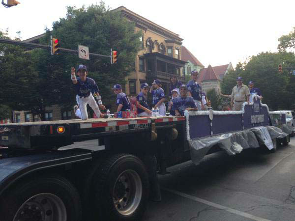 "<div class=""meta image-caption""><div class=""origin-logo origin-image none""><span>none</span></div><span class=""caption-text"">The team kicked off their time in Williamsport with a parade!</span></div>"