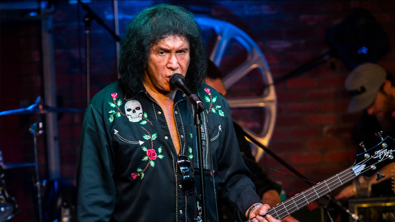 "Gene Simmons performs during the ""Music On A Mission"" benefit concert held at Lucky Strike Live - Hollywood on Sunday, Aug. 16, 2015 in Los Angeles."