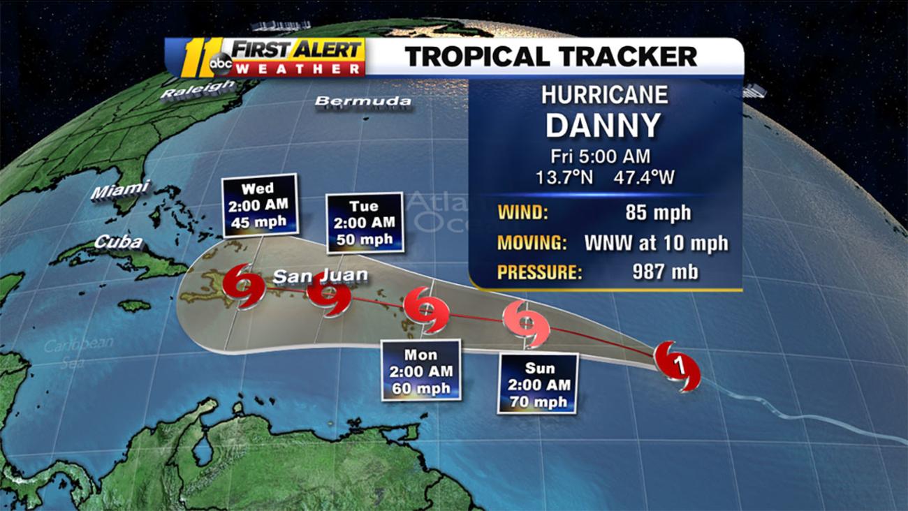 Hurricane Danny graphic