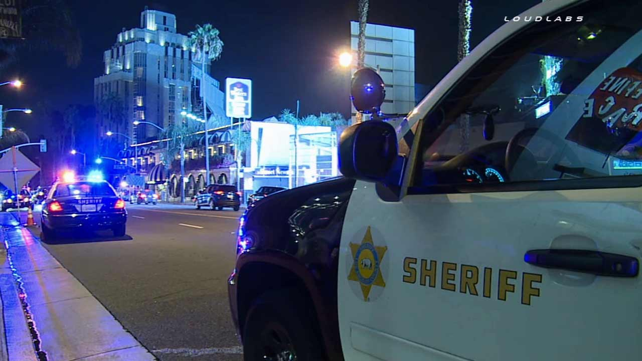 Los Angeles County sheriff's deputies respond to an accidental shooting at the Andaz West Hollywood Hotel on Thursday, Aug. 20, 2015.