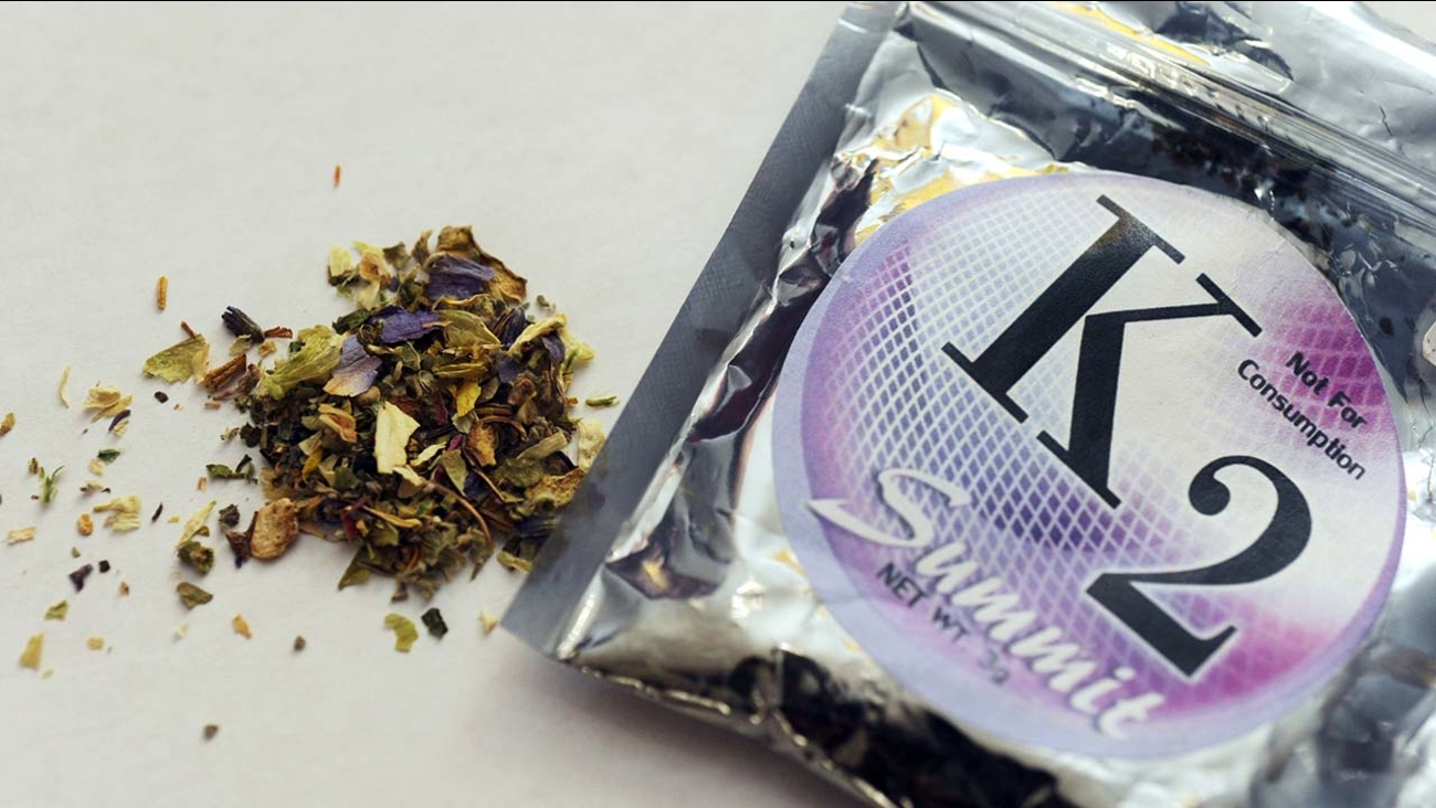A package of K2 , a concoction of dried herbs sprayed with chemicals.