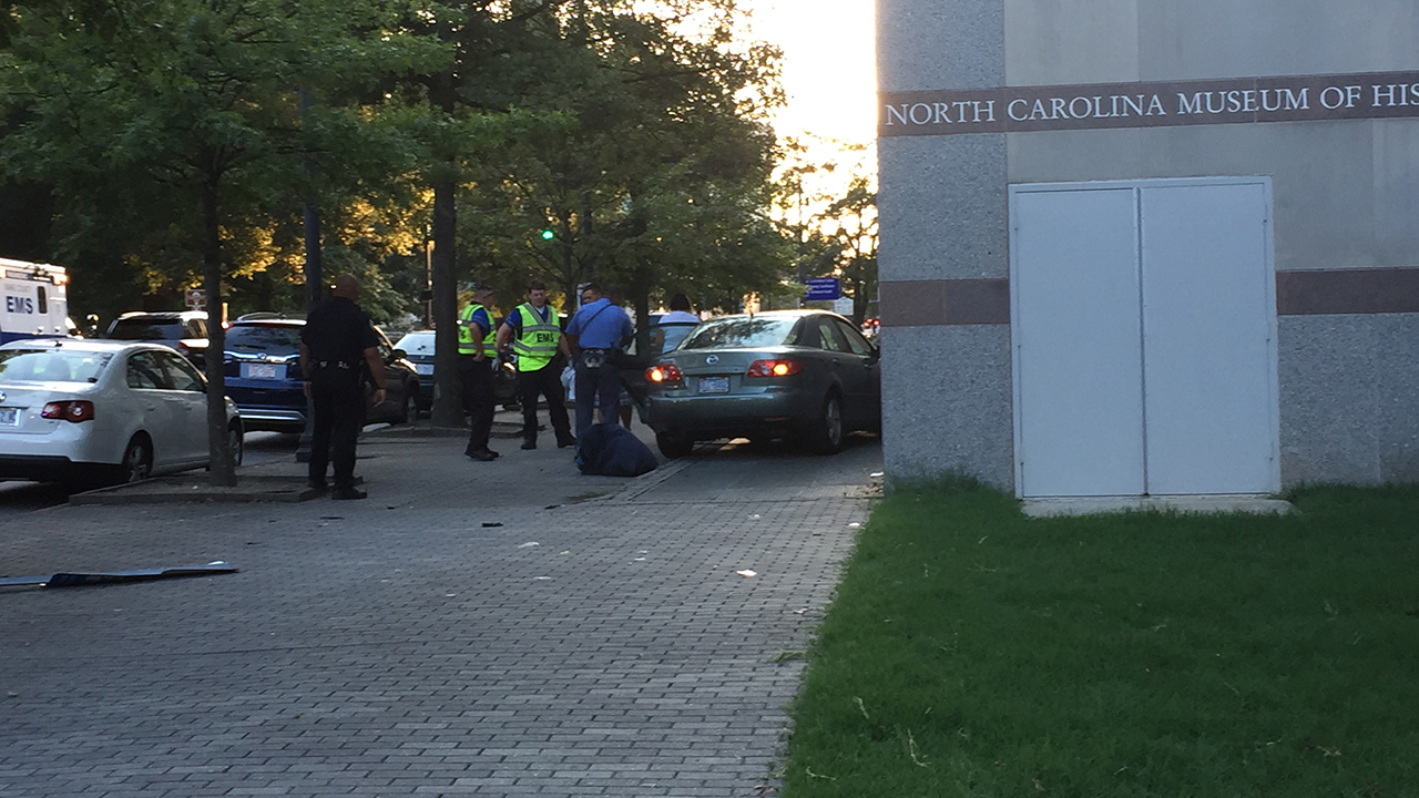 A car ran into the North Carolina Museum of History on Friday