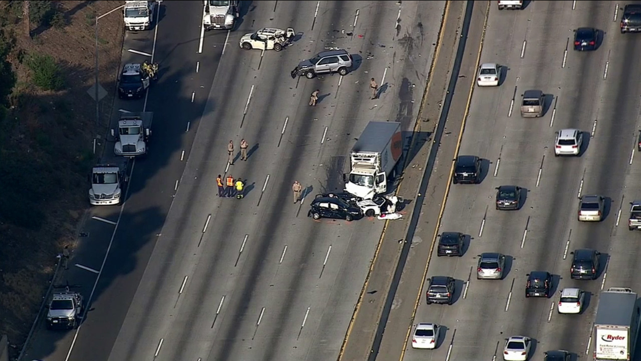 The wreckage of a four-car crash on the westbound 60 Freeway in Boyle Heights was captured by AIR7 HD on Friday, Aug. 21, 2015.