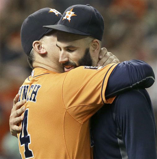"<div class=""meta image-caption""><div class=""origin-logo origin-image none""><span>none</span></div><span class=""caption-text"">Houston Astros pitcher Mike Fiers, right, is hugged by manager A.J. Hinch after his no-hitter (AP Photo/ Pat Sullivan)</span></div>"