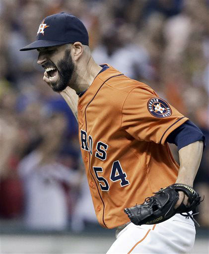 "<div class=""meta image-caption""><div class=""origin-logo origin-image none""><span>none</span></div><span class=""caption-text"">Houston Astros starting pitcher Mike Fiers screams and pumps his fist after throwing eight hitless innings (AP Photo/ Pat Sullivan)</span></div>"