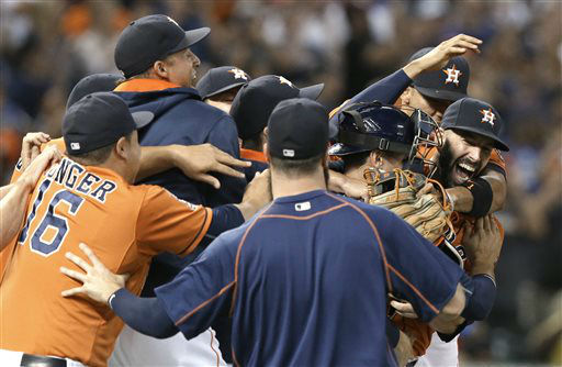 "<div class=""meta image-caption""><div class=""origin-logo origin-image none""><span>none</span></div><span class=""caption-text"">Houston Astros starting pitcher Mike Fiers, right, is mobbed by teammates after his no-hitter (AP Photo/ Pat Sullivan)</span></div>"