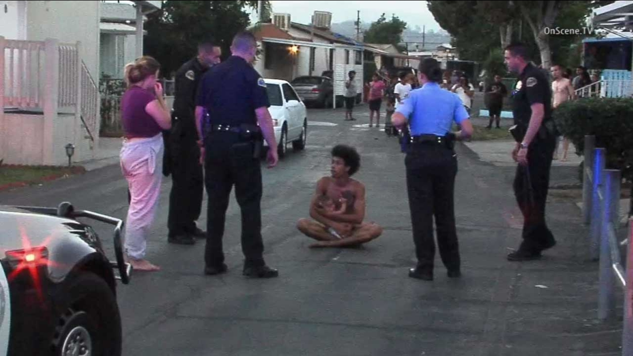 Pomona police attempt to take a naked man into custody in the 1400 block of West Mission Boulevard on Saturday, Aug. 22, 2015.