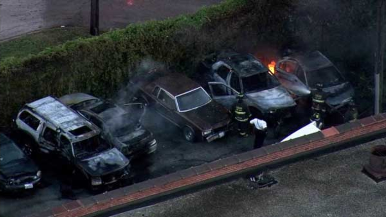 Several cars caught fire outside a body shop in the city's South Chicago neighborhood.