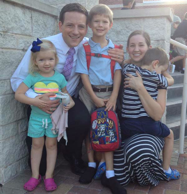 """<div class=""""meta image-caption""""><div class=""""origin-logo origin-image none""""><span>none</span></div><span class=""""caption-text"""">Travis Herzog had one sick child and the other two were all smiles on the first day of school! (KTRK Photo)</span></div>"""