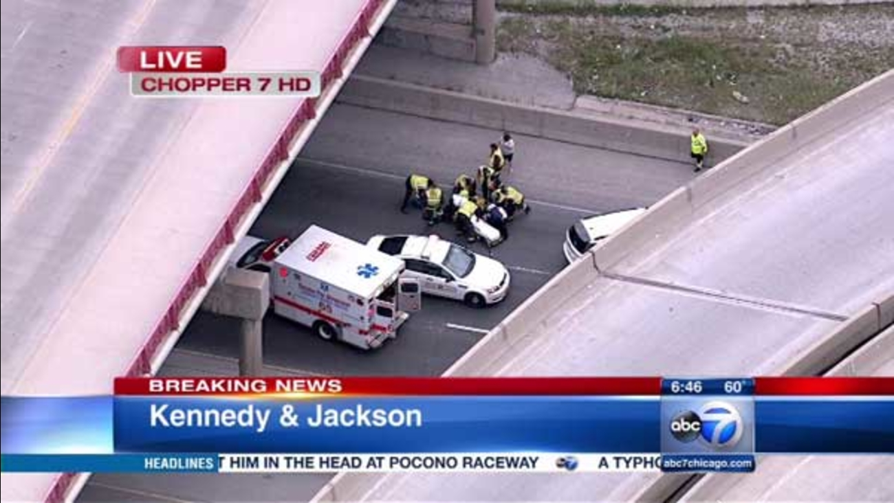 A man running from police jumped off the Van Buren overpass onto the inbound Kennedy Expressway, authorities said.