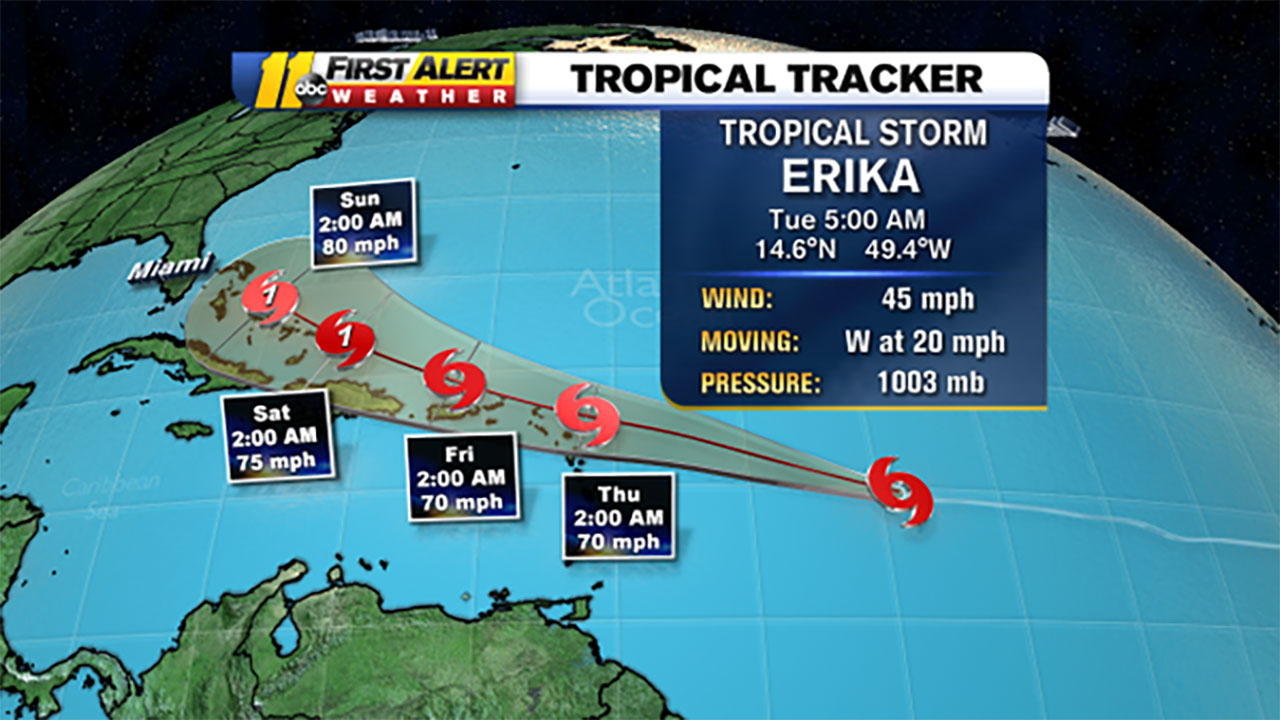 Tropical Storm Erika graphic forecast map