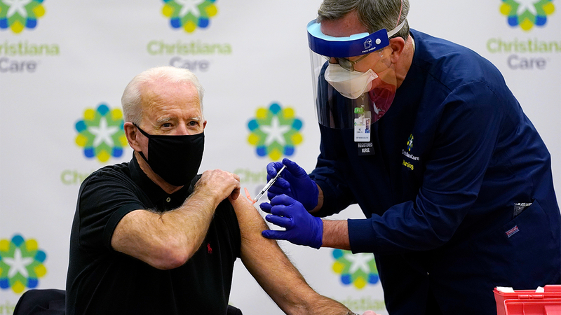Joe Biden received the second dose of the Pfizer/BioNTech coronavirus vaccine on Jan. 11 in Delaware.