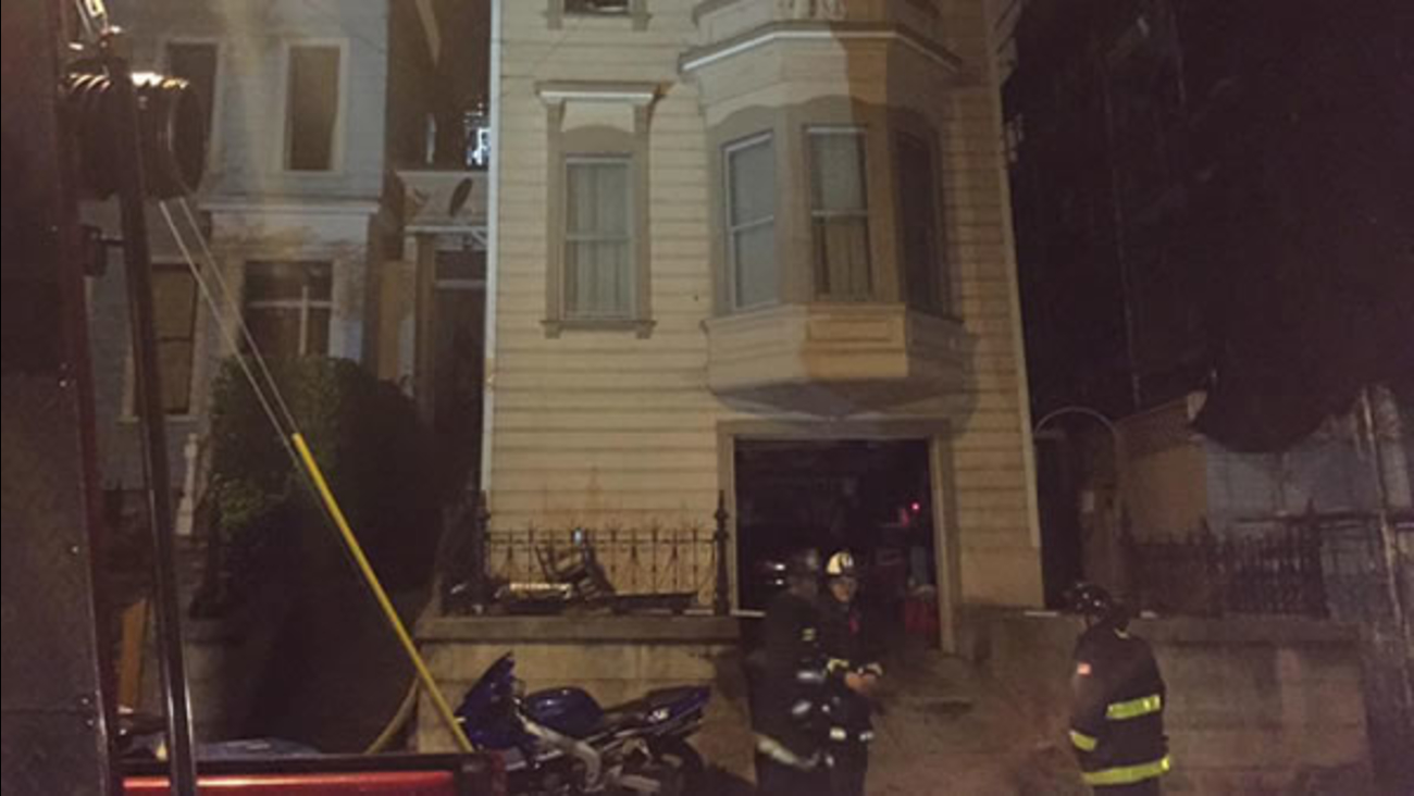 A fire was reported in a three-story residential building at 628 Shotwell St. at 11:07 p.m. Monday, August 24, 2015.