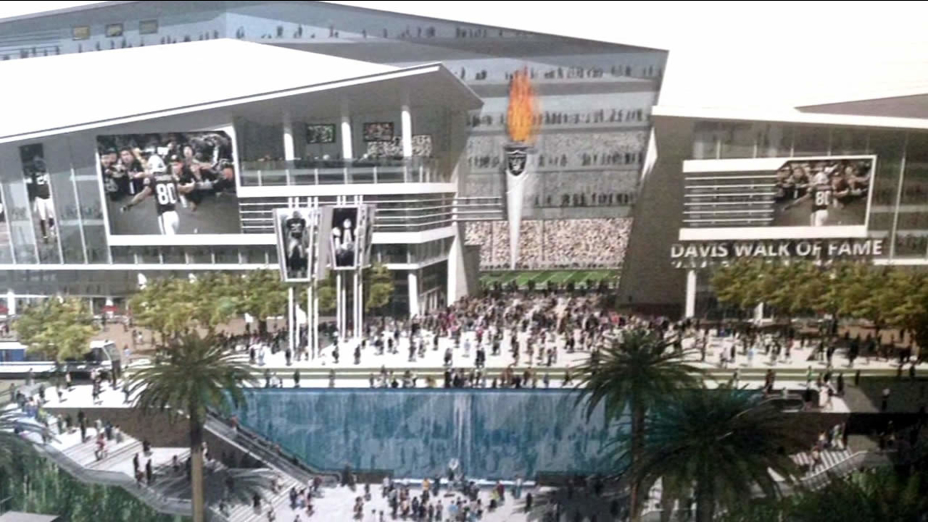 FILE - A sketch for a new massive development at the Oakland Coliseum complex that would include a new football stadium for the Oakland Raiders is seen in this undated photo.