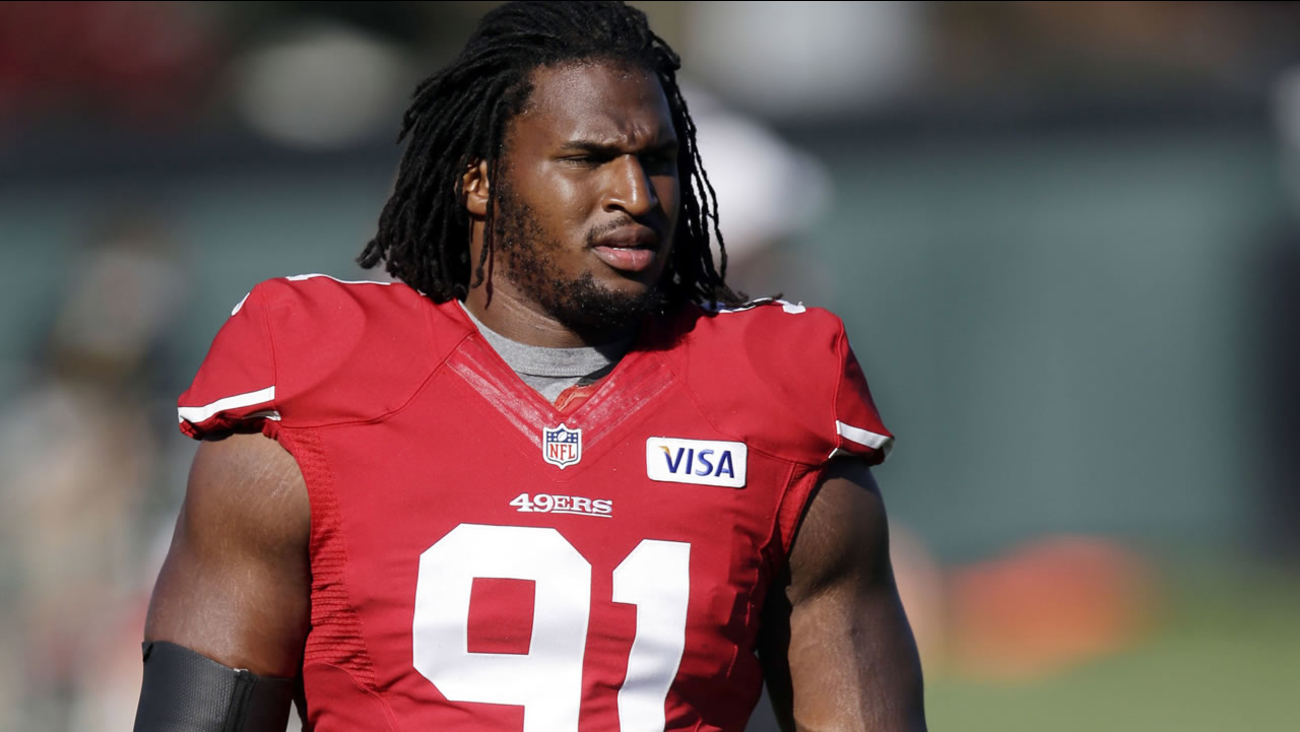 FILE - In this Aug. 2, 2013, file photo, San Francisco 49ers defensive tackle Ray McDonald looks on during NFL football training camp in Santa Cl (AP Photo)