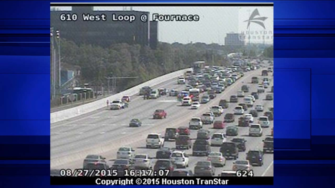 Accident blocking lanes on the West Loop seen near Fournace