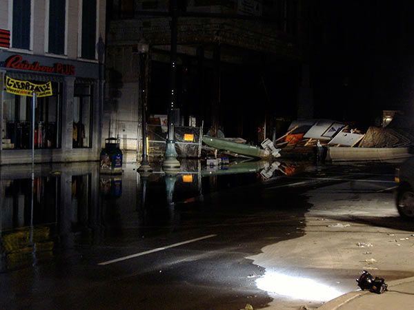 """<div class=""""meta image-caption""""><div class=""""origin-logo origin-image none""""><span>none</span></div><span class=""""caption-text"""">In this dark blurry photo is a boat.  It mysteriously floated by the Action News liveshot location on Canal Street late one night.  It was empty and no one ever claimed it. (WPVI Photo)</span></div>"""