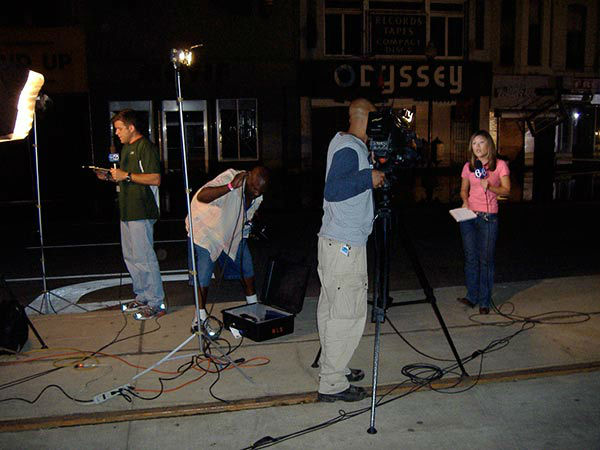 """<div class=""""meta image-caption""""><div class=""""origin-logo origin-image none""""><span>none</span></div><span class=""""caption-text"""">The only lights in the city at night were from the television crews reporting from Canal Street. (WPVI Photo)</span></div>"""