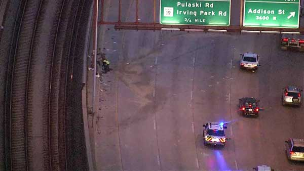 A woman was injured in a crash on the outbound Kennedy Expressway between North Kimball Avenue and West Addison Street.