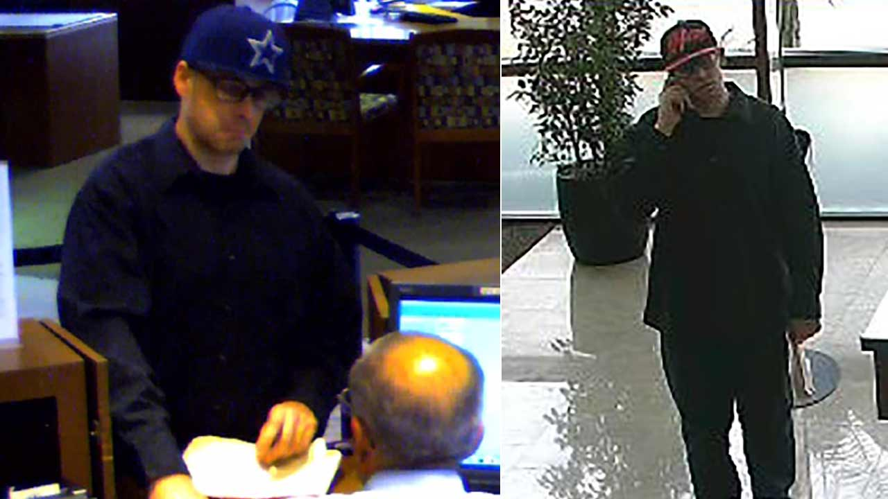 The FBI released surveillance photos of a suspect wanted for allegedly robbing a Farmers and Merchants Bank in Orange and a Bank of the West in Santa Ana this week.