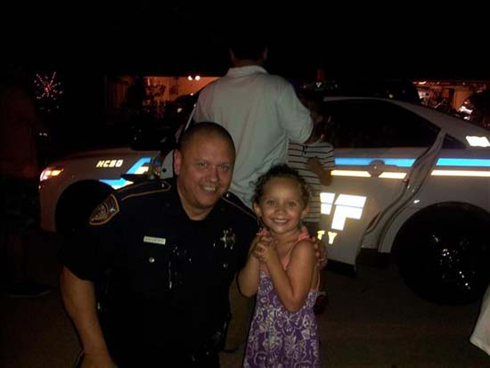 "<div class=""meta image-caption""><div class=""origin-logo origin-image ktrk""><span>KTRK</span></div><span class=""caption-text"">Deputy Darren Goforth seen in this viewer-submitted photo; ""Goforth stopping by our National Night Out in Stone Gate last year. He was so kind and awesome with all our kids."" (iWitness viewer-submitted photo)</span></div>"