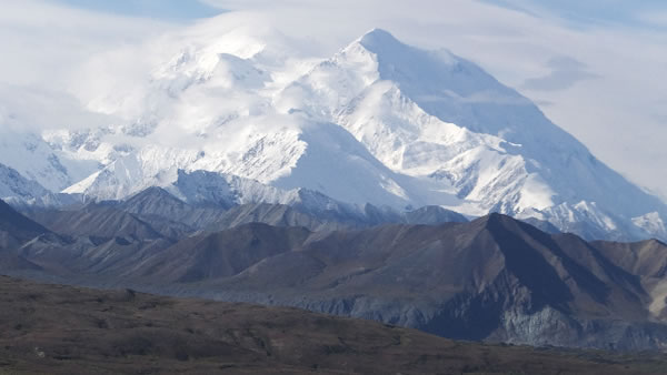 After several days of dreary weather, visitors were treated to this view of North America's tallest peak, Mount McKinley, on Wednesday, Aug. 27, 2014, in Denali National Park.